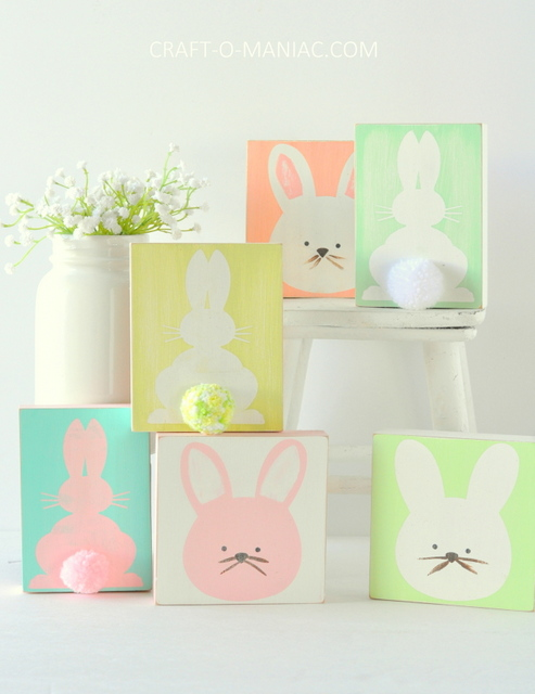 DIY stenciled wood bunnies
