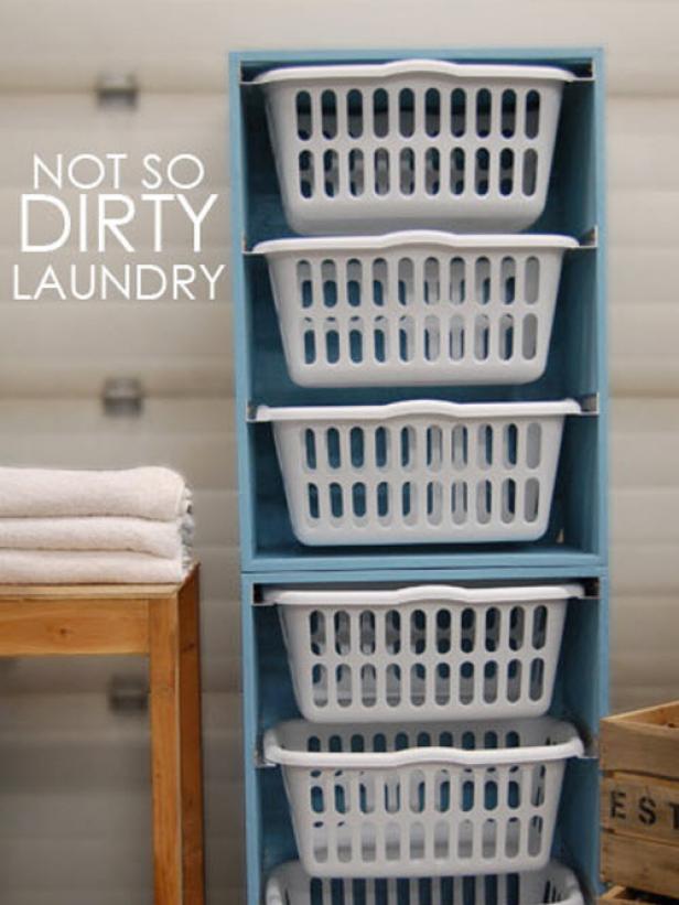 house hacks dirt laundry basket shelving