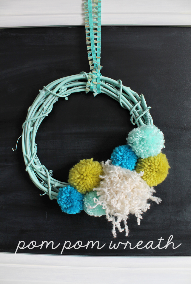 link party pom pom wreath