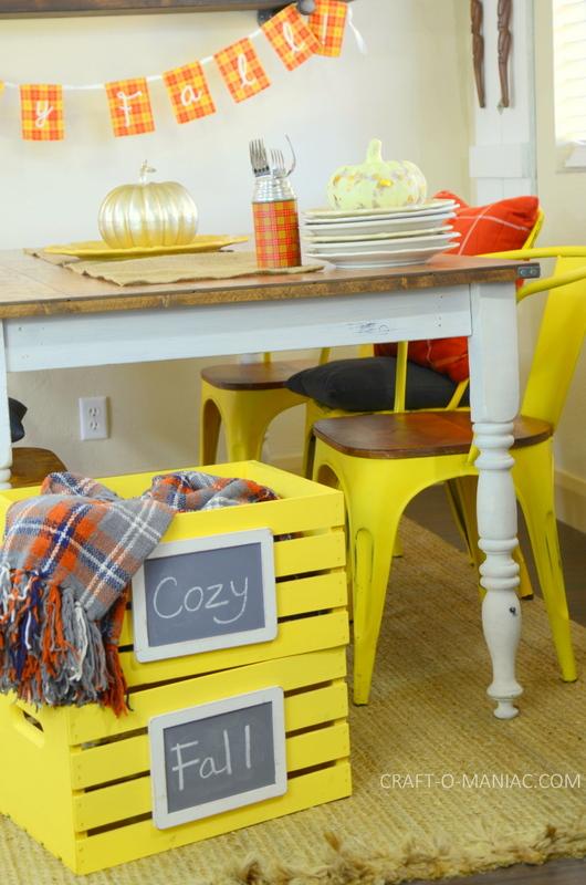 fall plaid kitchen decor11