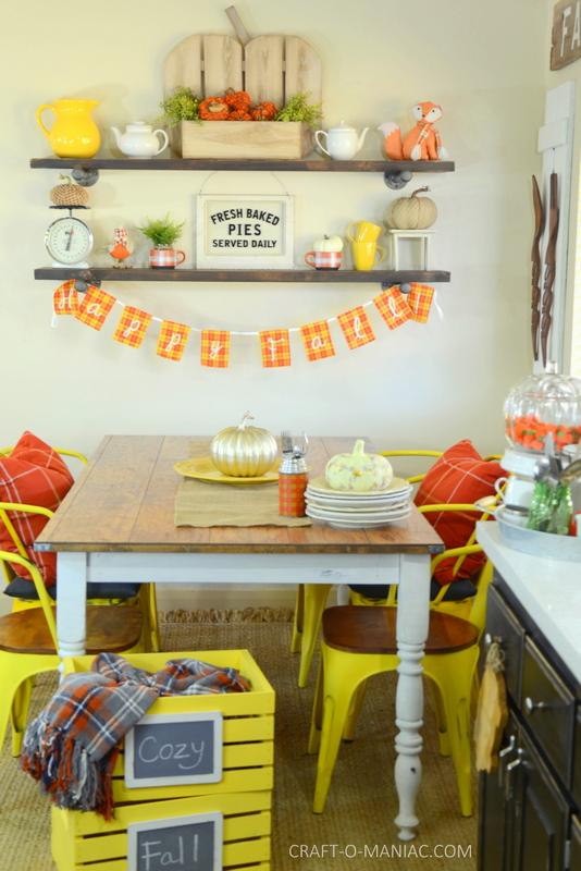 fall plaid kitchen decor13