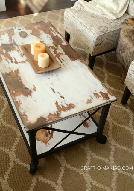 diy chalkpaint cowhide coffee table.7jpg
