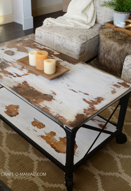 diy chalkpaint cowhide coffee table