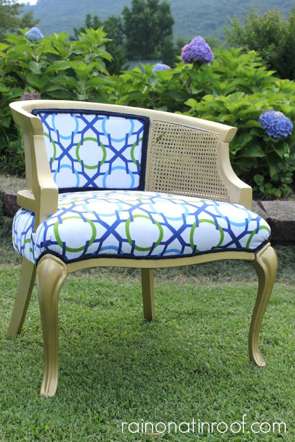DIY Upholstered cane chair