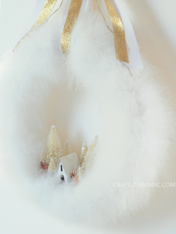 diy feather boa winter wonderland wreath2