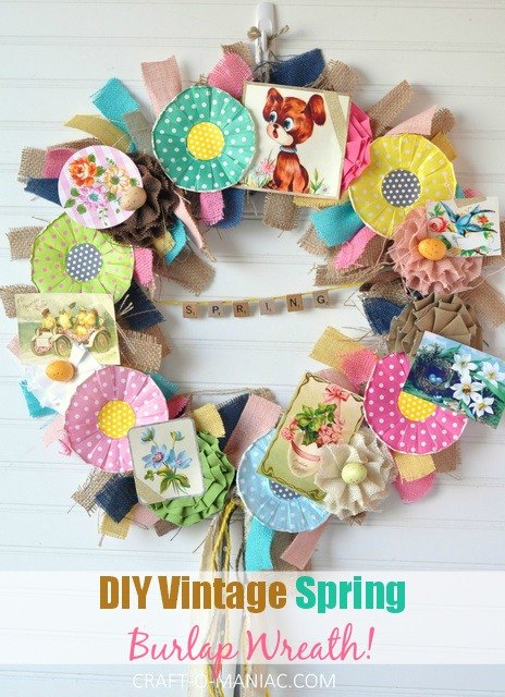 DIY Vintage Spring Burlap Wreath 19pm small