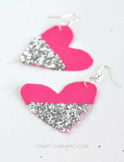 diy glitter and fabric heart earrings 9