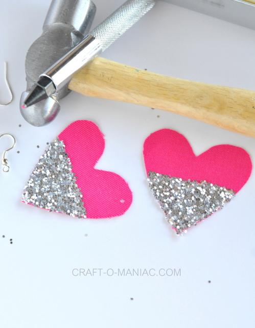 diy glitter and fabric heart earrings tools