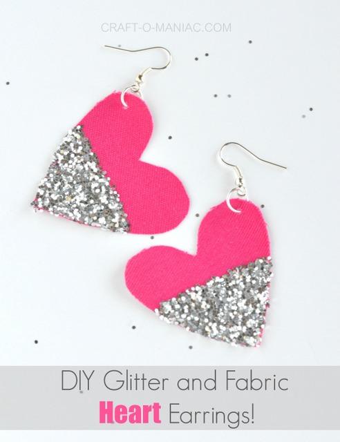 diy glitter and fabric heart earrings usepm