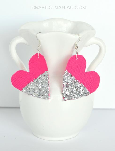 diy glitter and fabric heart earrings vase 1
