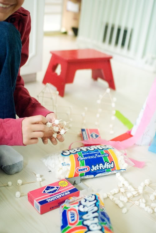 snowed in activities marshmallow toothpick building