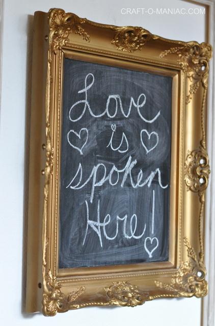 valentine entry way wall chalk board