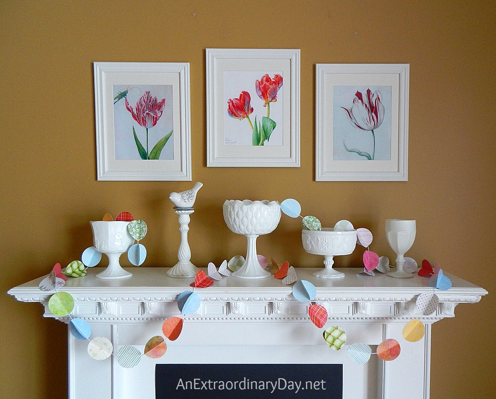 Easter spring colorful mantel