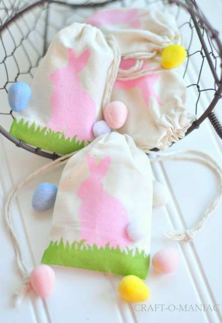 easter bunny stenciled bags