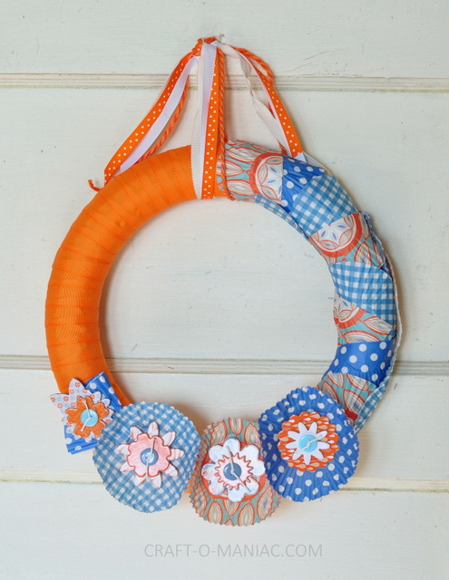 ribbon and cupcake liner wreath10