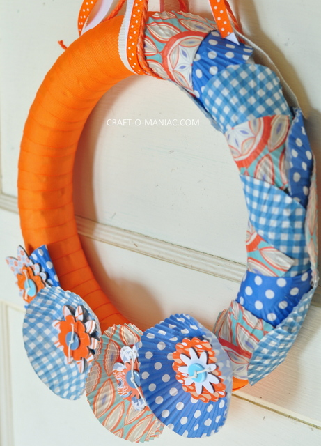 ribbon and cupcake liner wreath11