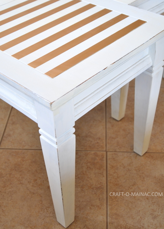white end tables painted with stripes1