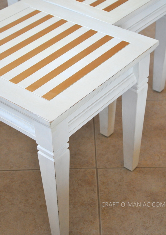 white end tables painted with stripes2