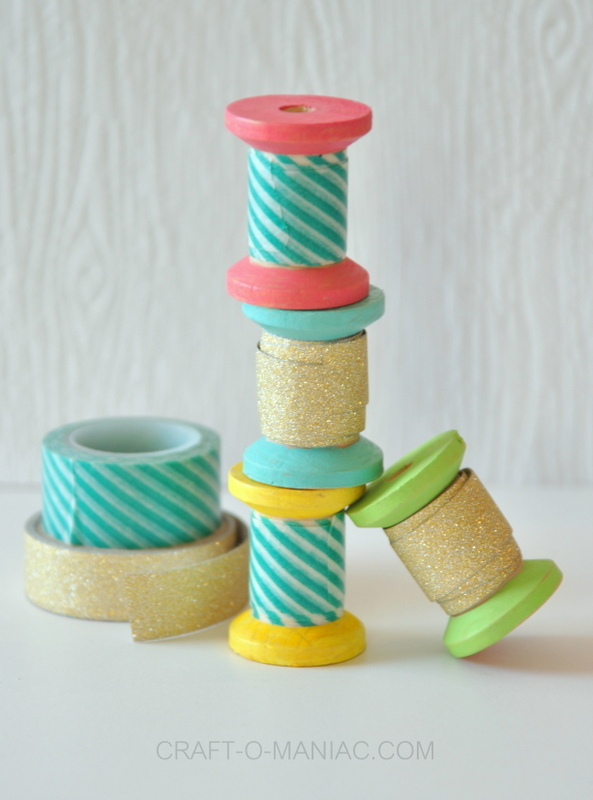 DIY painted spool washi tape holders finished1