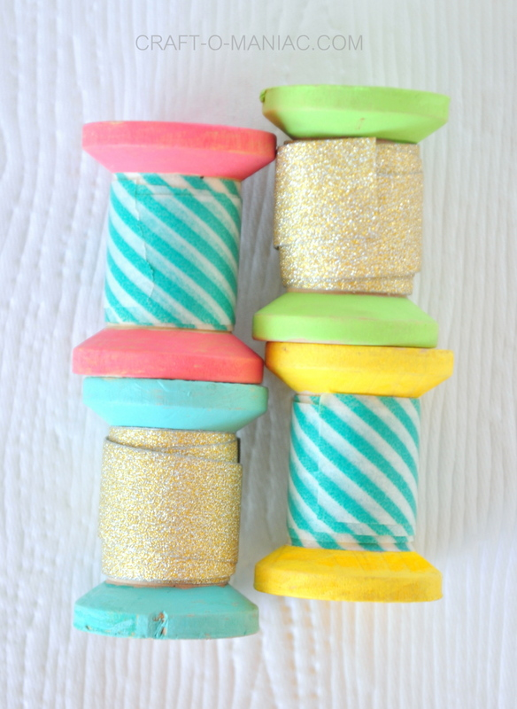 DIY painted spool washi tape holders finished6