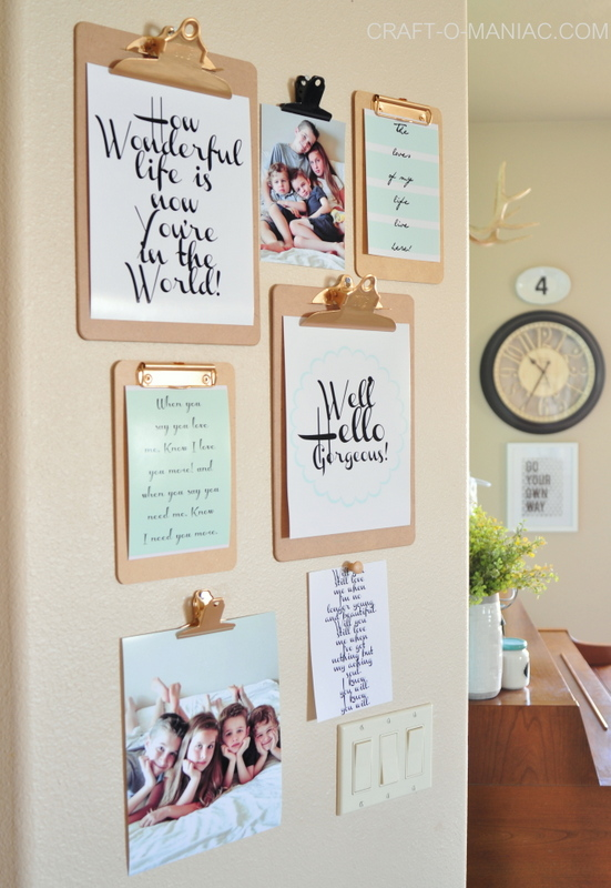 clip board gallery wall