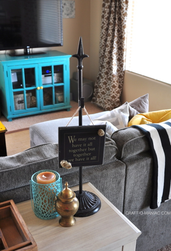 family room sofa table sign candle
