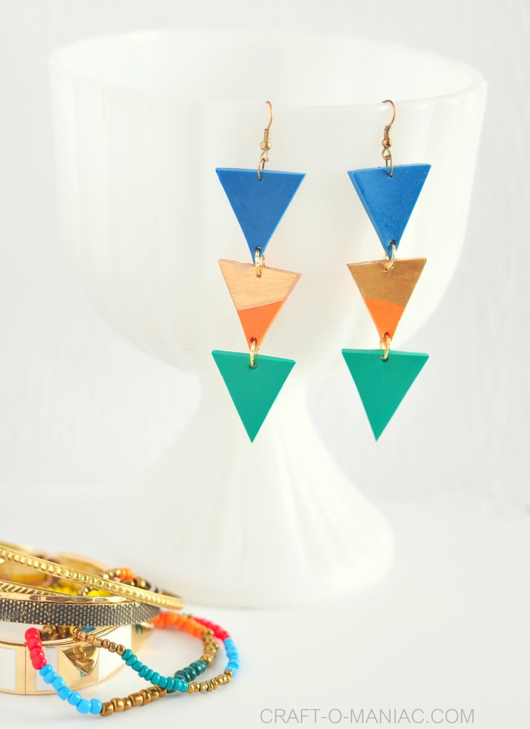 DIY clay triangle drop earrings 3