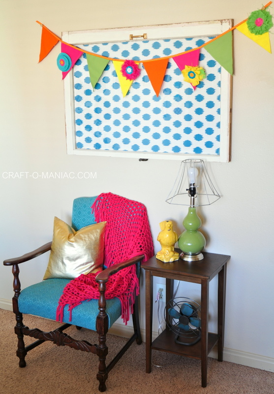 colorful canvas and burlap flower pennant-001