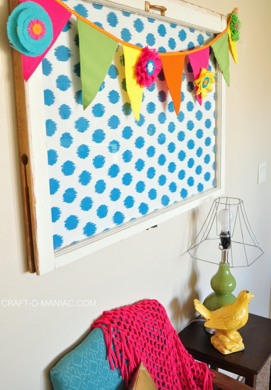 colorful canvas and burlap flower pennant2