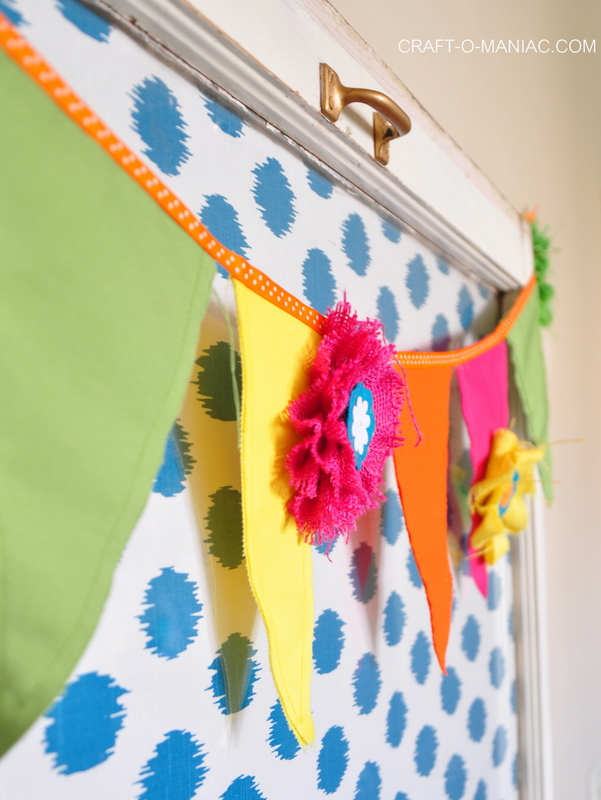 colorful canvas and burlap flower pennant3