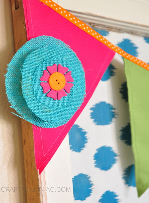 colorful canvas and burlap flower pennant4