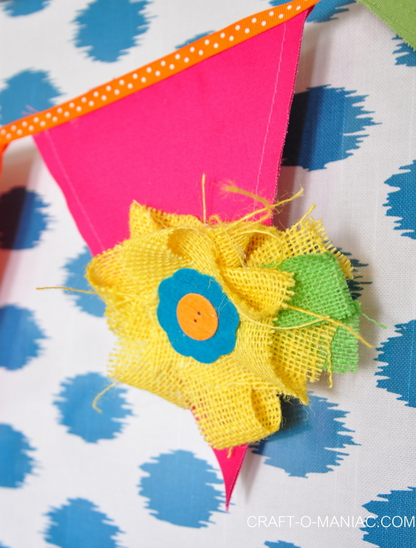 colorful canvas and burlap flower pennant5