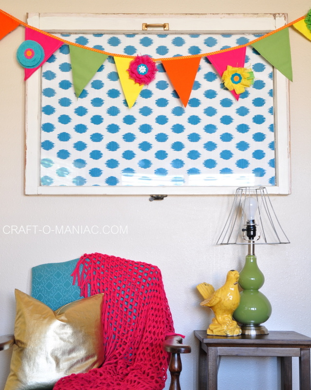 colorful canvas and burlap flower pennant6