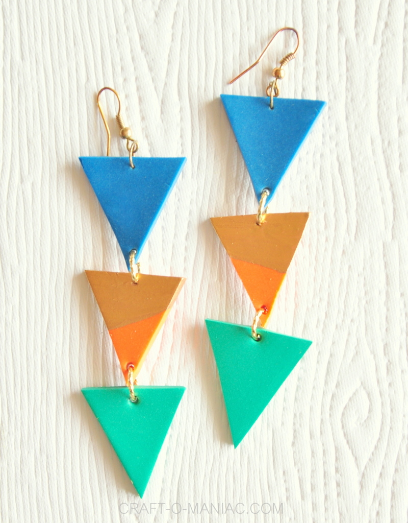 diy clay triangle drop earrings