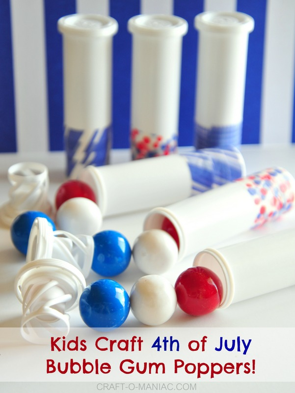 kids craft 4th of july bubble gum poppers