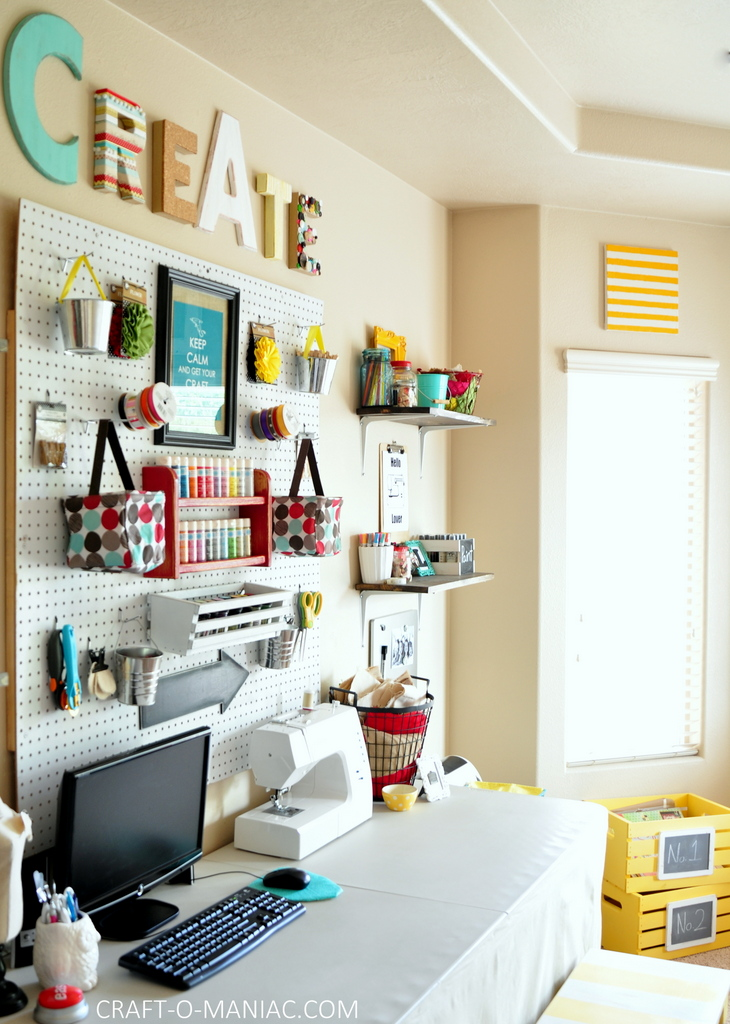 craft room makeover side with crates