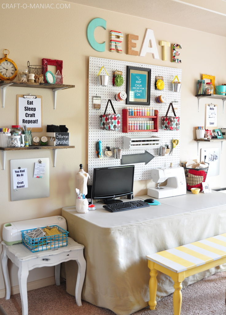 craft room makeover whites and brights