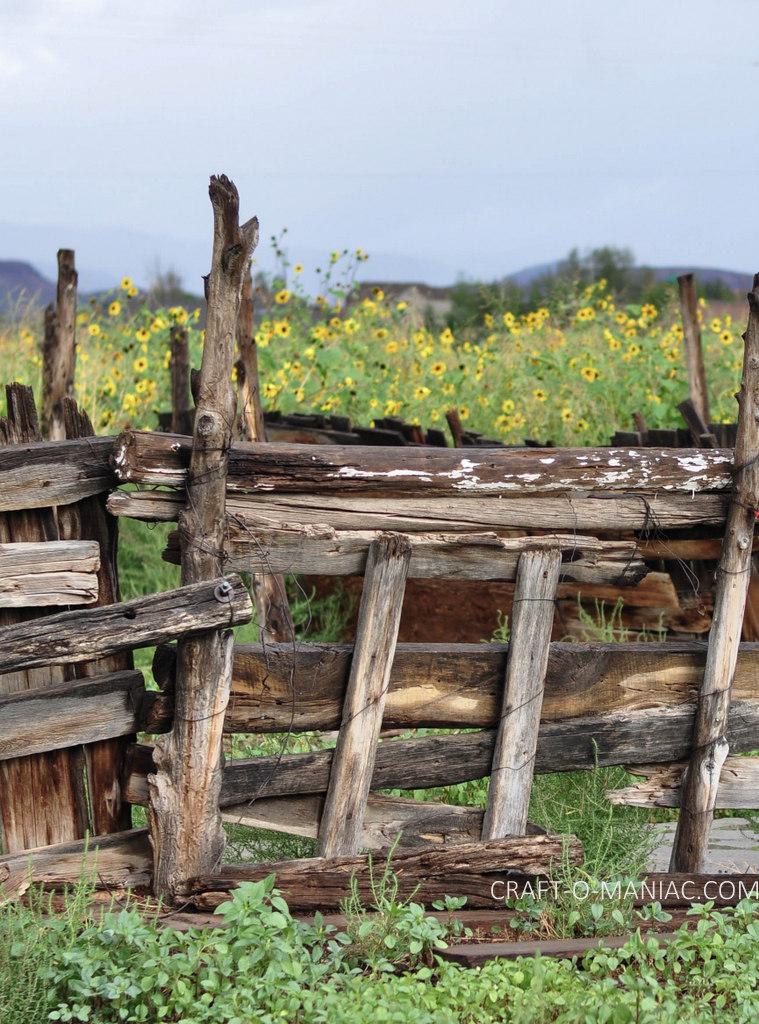 rustic farm fence close