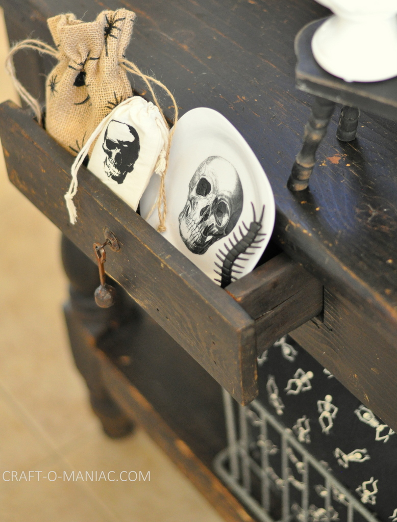 black and white halloween decor drawer