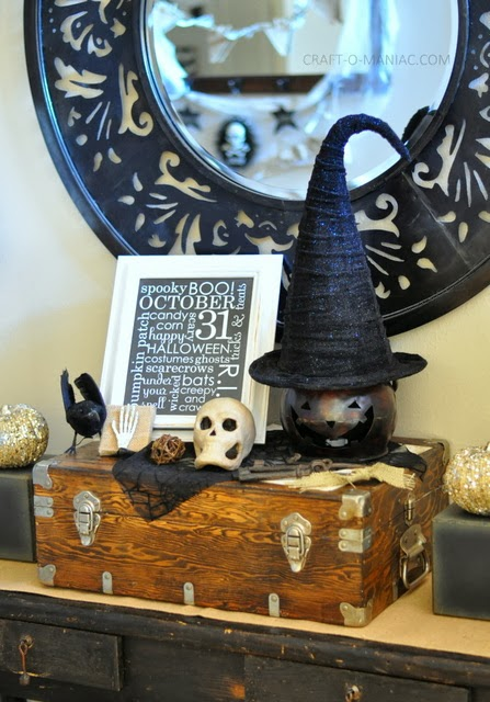 rustic halloween decor entry table