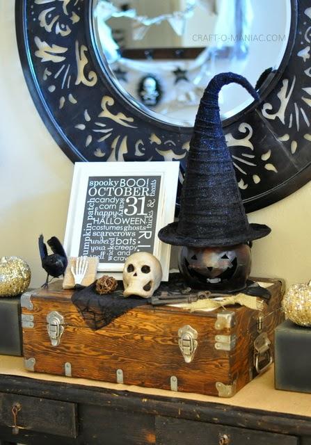 rustic halloween decor entry table