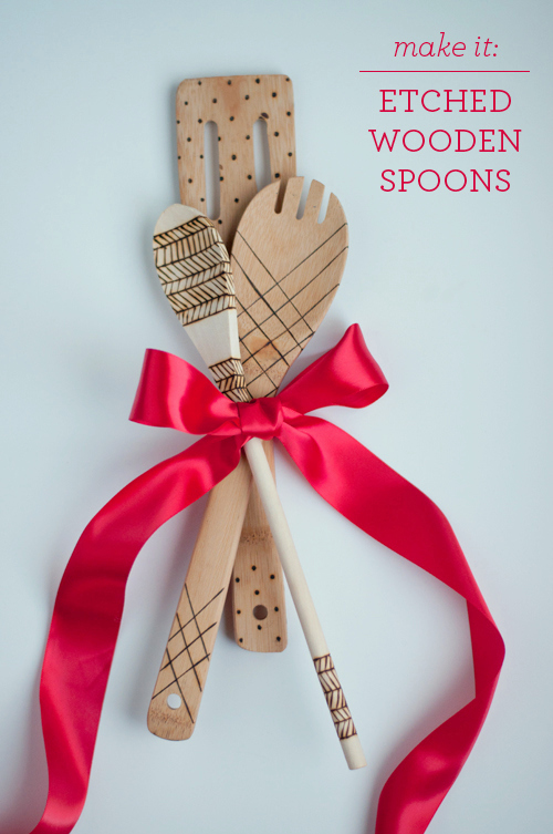 christmas gift etched wood spoons