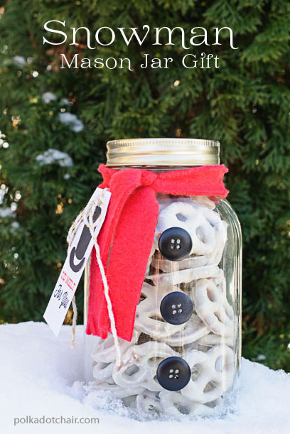 christmas gift snowman treat jar