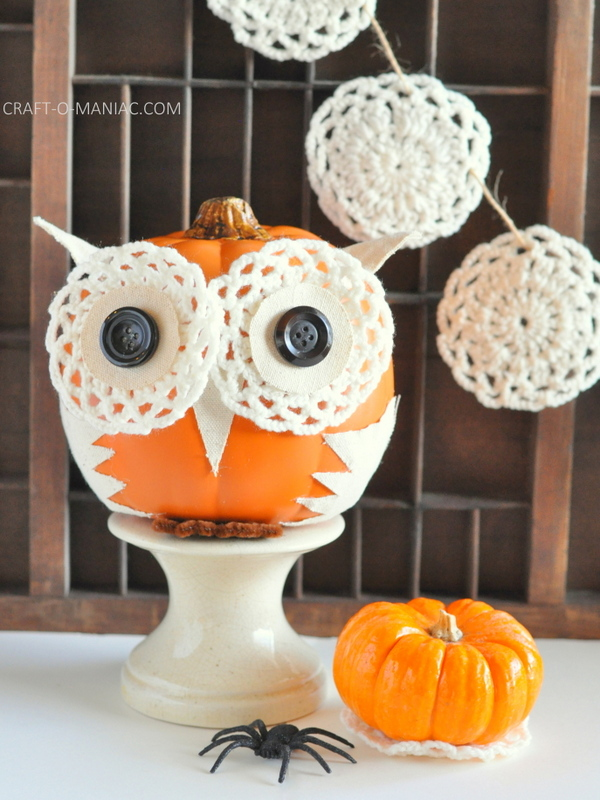 diy embellished faux pumpkin owl