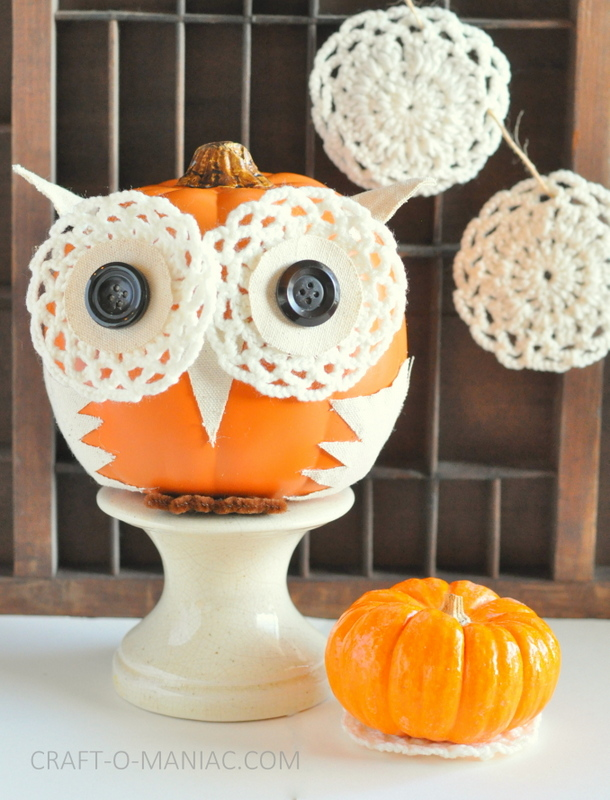 diy embellished faux pumpkin owl1