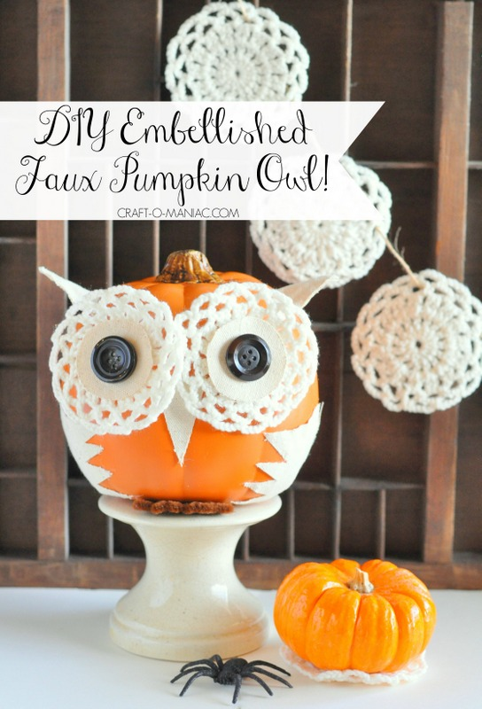 diy embellished faux pumpkin owl2PM