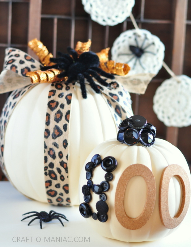 diy embellished faux pumpkins cheetah and boo2