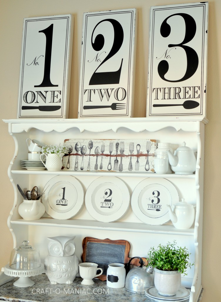 black and white hutch decor1