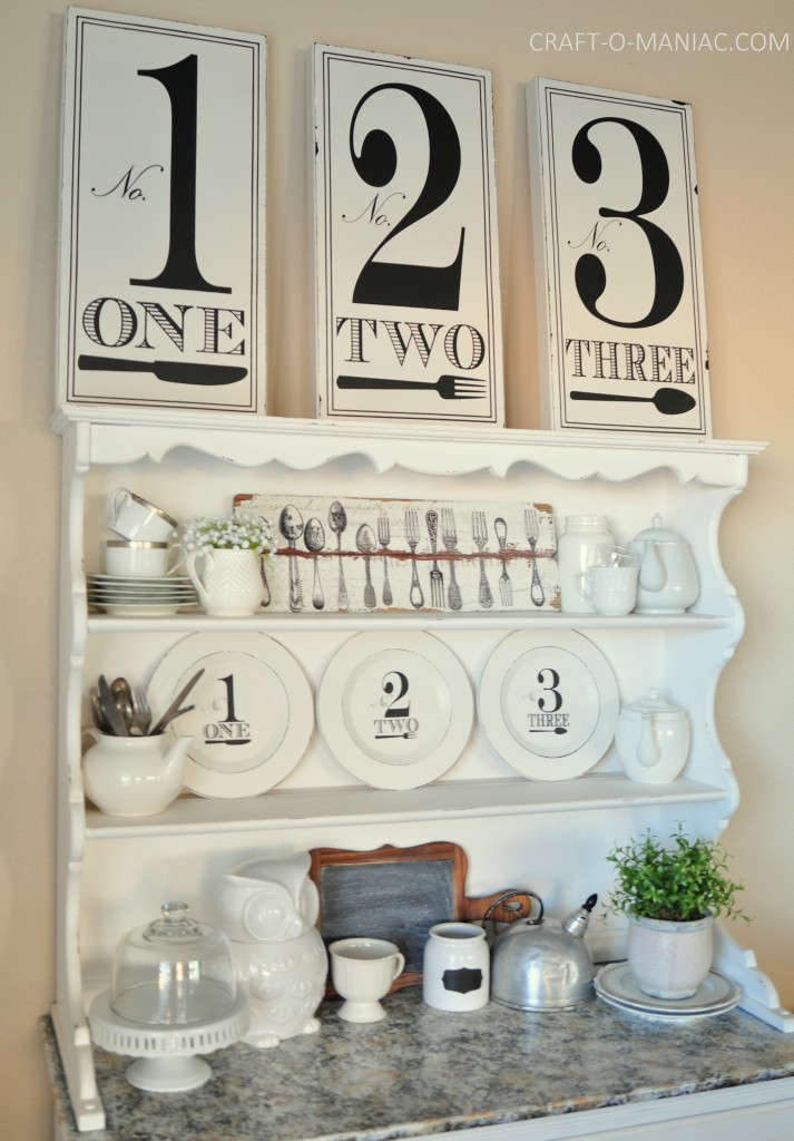black and white hutch decor2