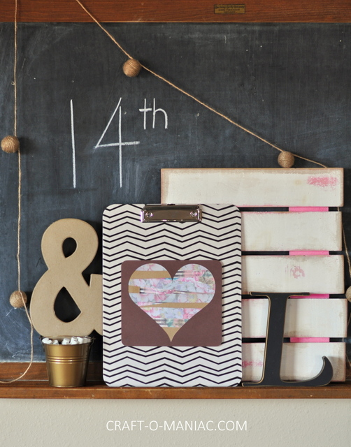 diy paper heart clipboard craft1